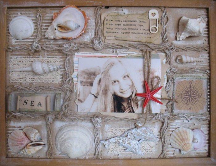 Коллаж из фото и ракушек на подарок