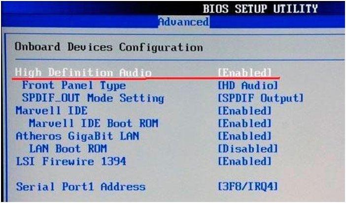 Звуковоя карта в BIOS
